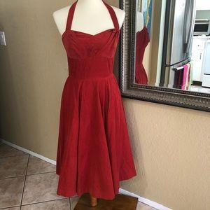 Red fine corduroy Halter Dress size 6
